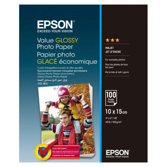 Фотобумага 10x15 Epson C13S400039 Value Glossy Photo Paper 100 sheet/