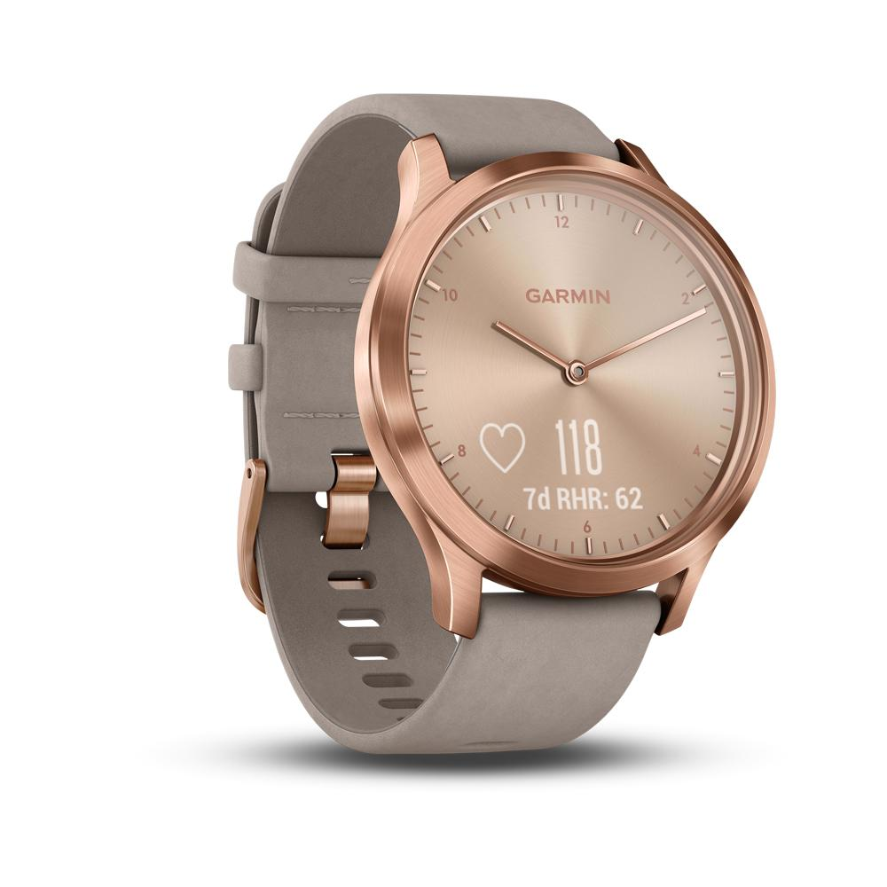 Смарт-часы GARMIN vivomove HR,Premium,Rose Gold with Gray Suede, 010-01850-09